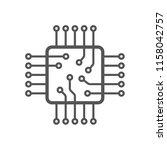 microchip icon. cpu icon. ... | Shutterstock .eps vector #1158042757