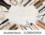 various hair dresser tools on... | Shutterstock . vector #1158042904