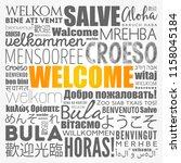 welcome word cloud in different ... | Shutterstock .eps vector #1158045184