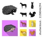 horse  cow  cat  squirrel and... | Shutterstock .eps vector #1158046294
