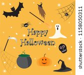 happy halloween card and scary... | Shutterstock .eps vector #1158050311