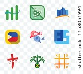 Set Of 9 transparent icons such as tic tac toe, jamaican, antichrist, ffs, callout, philippine flag, constraction, soy free, continuous improvement, can be used for mobile, pixel perfect vector icon