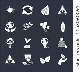 set of 16 icons such as plant...