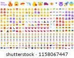 big set of new modern emojis.... | Shutterstock .eps vector #1158067447