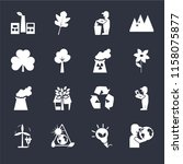 set of 16 icons such as globe...