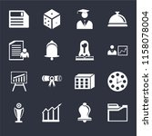 set of 16 icons such as folders ...
