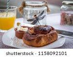 vegan breakfast table with... | Shutterstock . vector #1158092101