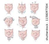 little pig cartoon action set ... | Shutterstock .eps vector #1158097504