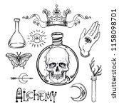 alchemy symbol icon set.... | Shutterstock .eps vector #1158098701