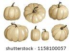 white pumpkin isolated on white.... | Shutterstock .eps vector #1158100057