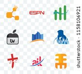set of 9 transparent icons such ... | Shutterstock .eps vector #1158106921
