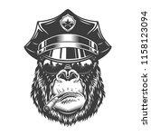gorilla head in monochrome... | Shutterstock .eps vector #1158123094