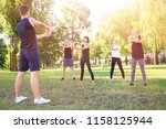 group of sporty young people... | Shutterstock . vector #1158125944