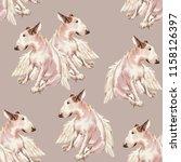 seamless patterin of dog. hand... | Shutterstock . vector #1158126397