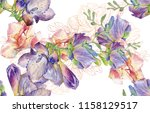 hand drawn watercolor flower... | Shutterstock . vector #1158129517