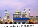 column tower in petrochemical... | Shutterstock . vector #115813225