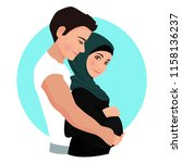 the man is hugging pregnant... | Shutterstock .eps vector #1158136237