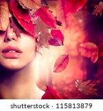 autumn woman fashion portrait.... | Shutterstock . vector #115813879