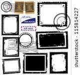vector set of postage stamps | Shutterstock .eps vector #115814227