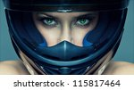Sexy Woman In Helmet On Blue...