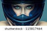 sexy woman in helmet on blue... | Shutterstock . vector #115817464