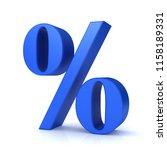 percent sign 3d rendering blue...   Shutterstock . vector #1158189331