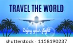 airplane flight to paradise.... | Shutterstock .eps vector #1158190237