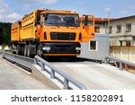 orange truck with grain is... | Shutterstock . vector #1158202891
