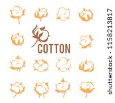 cotton logos  icons  labels ... | Shutterstock .eps vector #1158213817