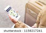 woman using rideshare app. ride ... | Shutterstock . vector #1158217261
