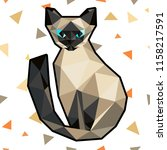low poly cat in polygonal style.... | Shutterstock . vector #1158217591