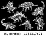 graphical set of stegosaurs and ... | Shutterstock .eps vector #1158217621