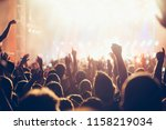 cheering crowd with hands in... | Shutterstock . vector #1158219034