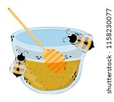 bowl honey with bees animals... | Shutterstock .eps vector #1158230077