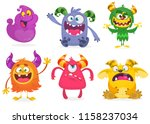cute cartoon monsters. vector... | Shutterstock .eps vector #1158237034
