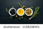 a set of olives and olive oil... | Shutterstock . vector #1158238351