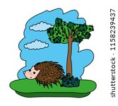 color porcupine cute wild... | Shutterstock .eps vector #1158239437