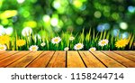 image empty wood table with... | Shutterstock . vector #1158244714