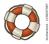 lifebuoy with rope isolated on... | Shutterstock .eps vector #1158247087