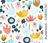 seamless pattern with hand... | Shutterstock .eps vector #1158251767