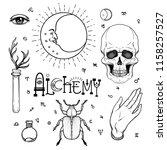 alchemy symbol icon set.... | Shutterstock .eps vector #1158257527