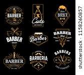 barber shop retro emblems in...   Shutterstock .eps vector #1158260857