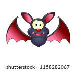 cartoon bat on white background.... | Shutterstock .eps vector #1158282067