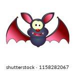 cartoon bat on white background.... | Shutterstock .eps vector #1158282067