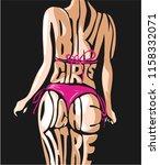 bikini girls right here slogan... | Shutterstock .eps vector #1158332071