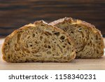 slices of sourdough bread on... | Shutterstock . vector #1158340231