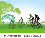 cycling with the family ... | Shutterstock . vector #1158340321