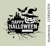 happy halloween black and white ... | Shutterstock .eps vector #1158341524