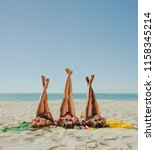 Three Girlfriends Lying Beach Bikini - Fine Art prints