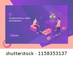 cryptocurrency and blockchain... | Shutterstock .eps vector #1158353137